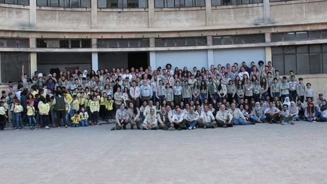 Me with Scouts of Syria celebrating Scouts brotherhood day