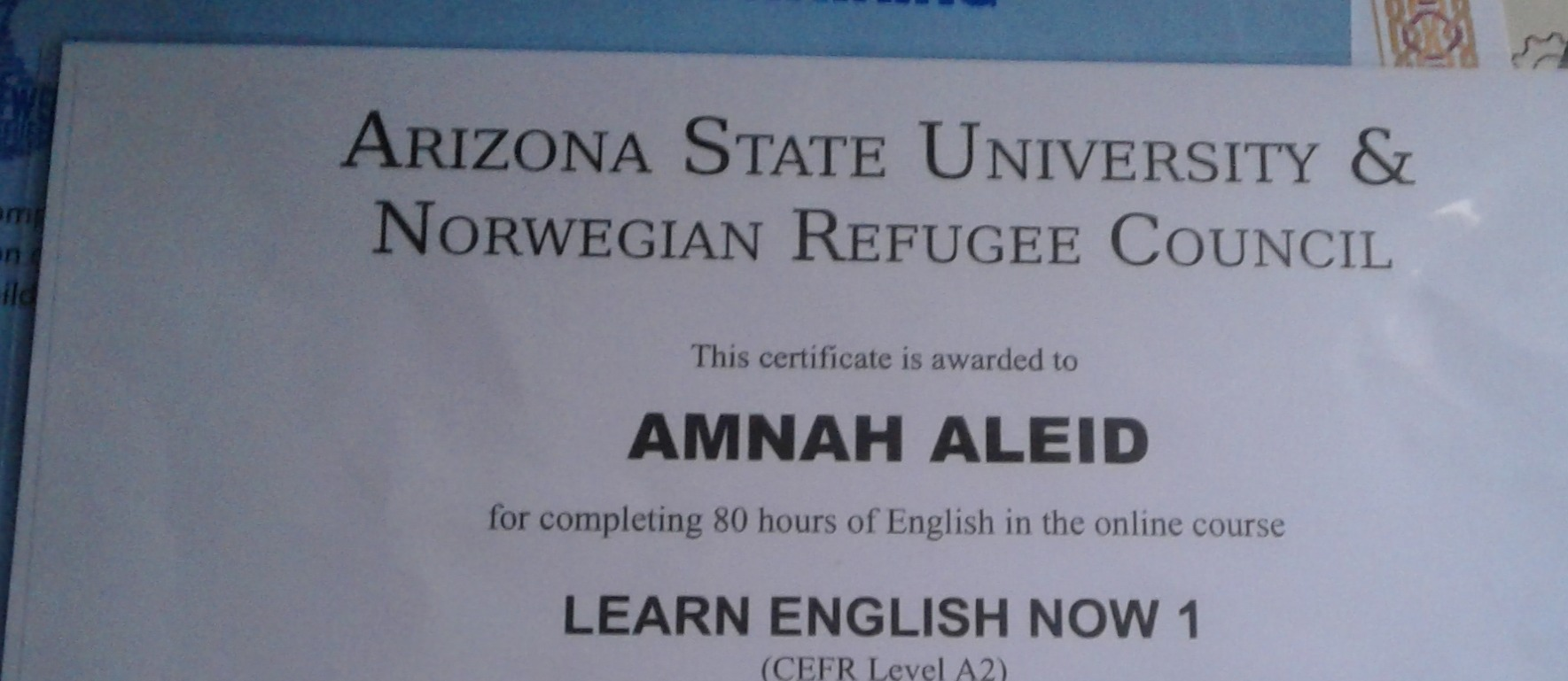 I participated in this course to become more flexible with English