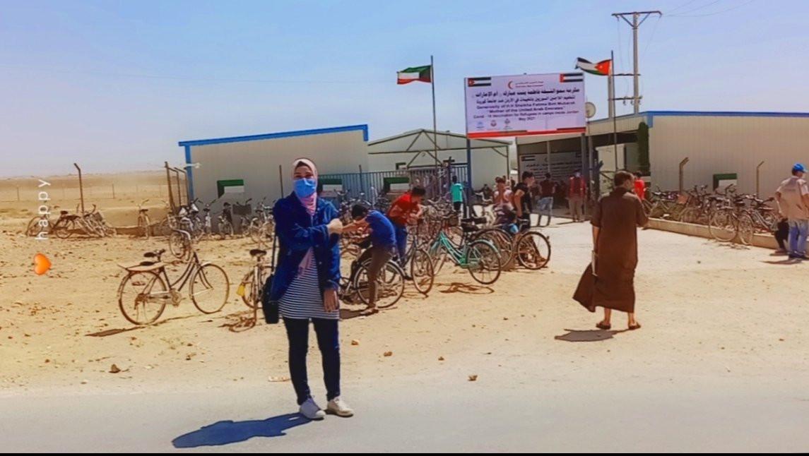 At the medical center in Zaatari camp to Take the Corona vaccine.