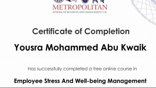 Certificate of Attendance at the School of Business and Management in the UK