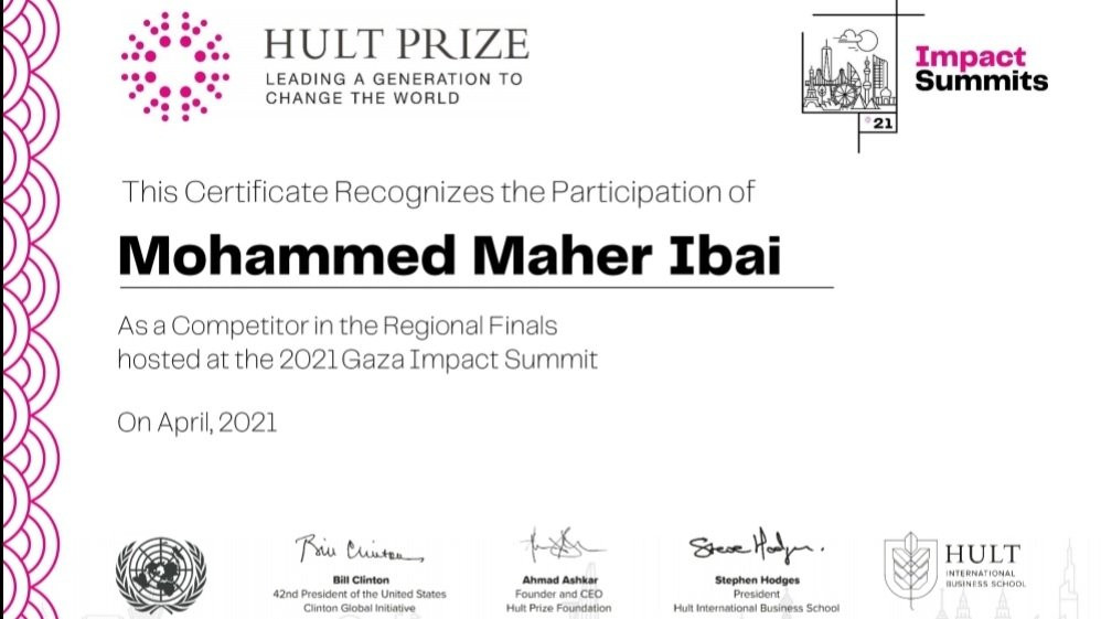 A recognition certificate from HULT PRIZE
