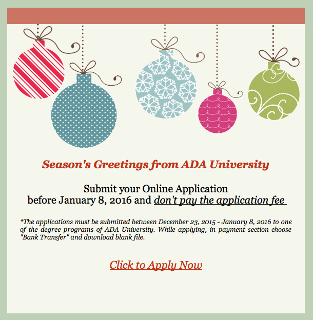 Season\'s Greetings & Happiest New Year from ADA University!