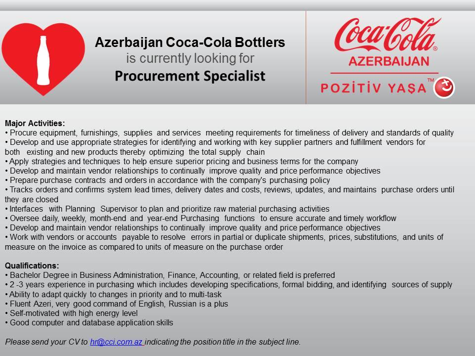 azerbaijan coca cola bottlers is currently looking for procurement specialist