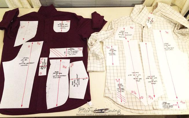 Repurposing-mens-shirts-into-womens-pants---cutting