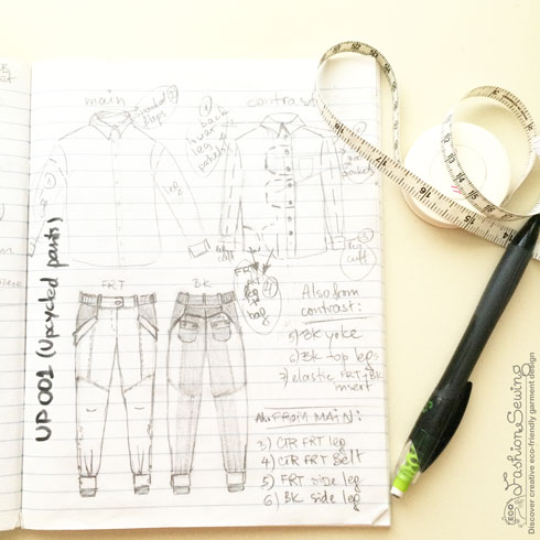 Repurposing-mens-shirts-into-womens-pants---drawing-the-design
