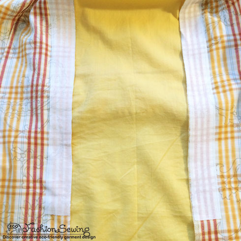Yellow-shirt-refashion--Redesign-gather-under-bust-and-short-sleeves---bk-loops-3
