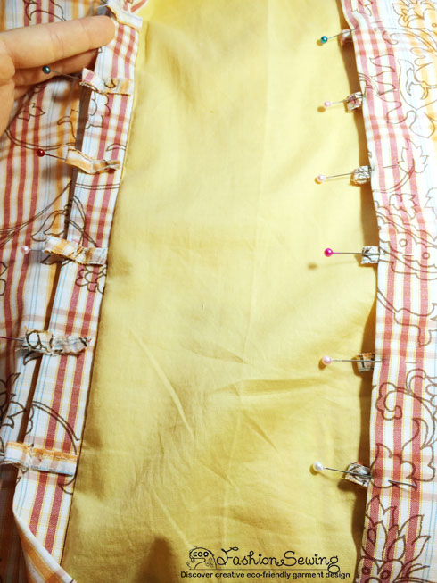 Yellow-shirt-refashion--Redesign-gather-under-bust-and-short-sleeves---bk-loops