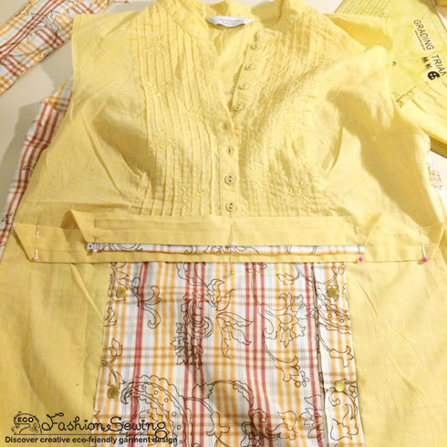 Yellow-shirt-refashion--Redesign-gather-under-bust-and-short-sleeves---cover-frt-panel-2