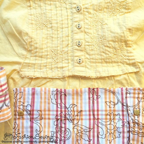 Yellow-shirt-refashion--Redesign-gather-under-bust-and-short-sleeves---cover-frt-panel