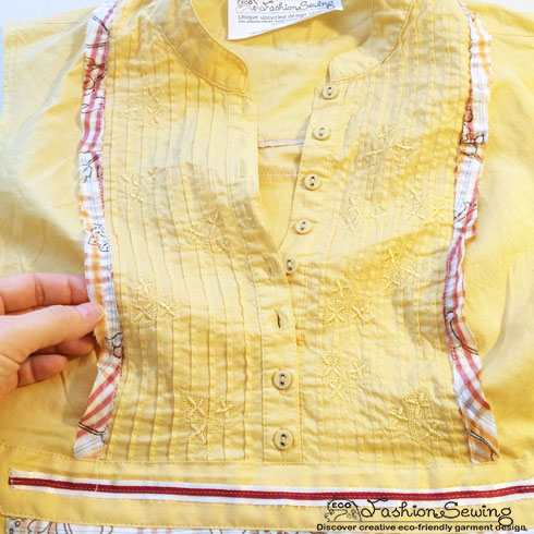 Yellow-shirt-refashion--Redesign-gather-under-bust-and-short-sleeves---embellishment-3