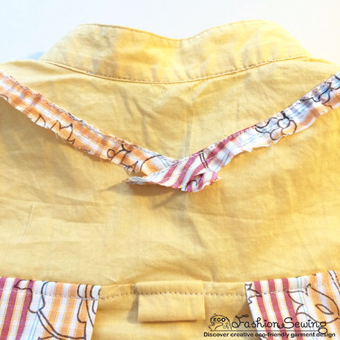 Yellow-shirt-refashion--Redesign-gather-under-bust-and-short-sleeves---embellishment-bk