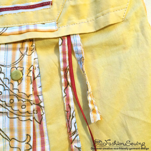 Yellow-shirt-refashion--Redesign-gather-under-bust-and-short-sleeves---frt-embellishment