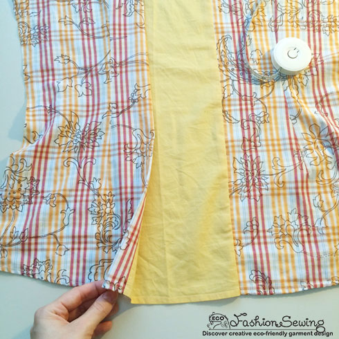 Yellow-shirt-refashion--Redesign-gather-under-bust-and-short-sleeves---insert-bk