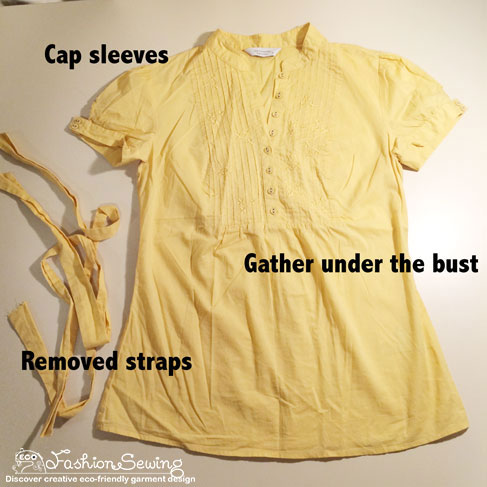 Yellow-shirt-refashion--Redesign-gather-under-bust-and-short-sleeves---main