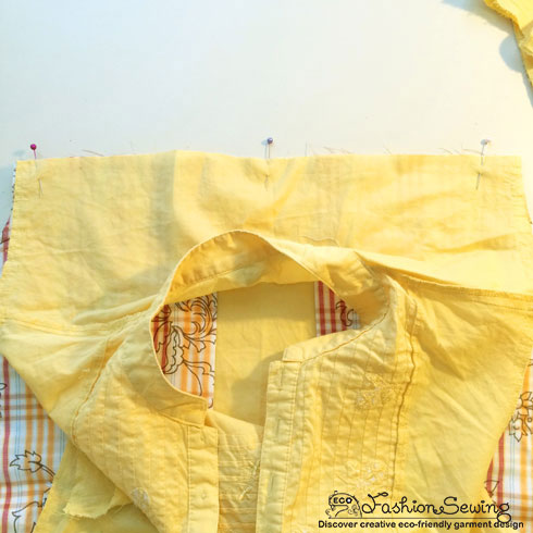 Yellow-shirt-refashion--Redesign-gather-under-bust-and-short-sleeves---pretend-yoke