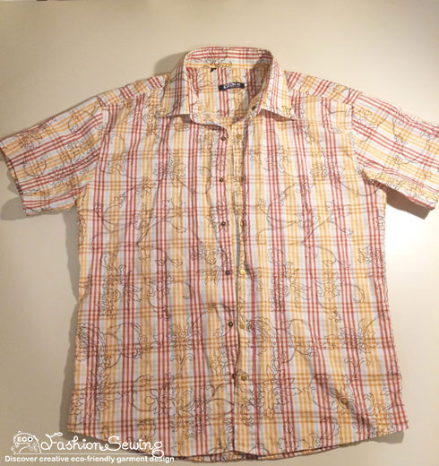 Yellow-shirt-refashion--Redesign-gather-under-bust-and-short-sleeves---secondary-shirt