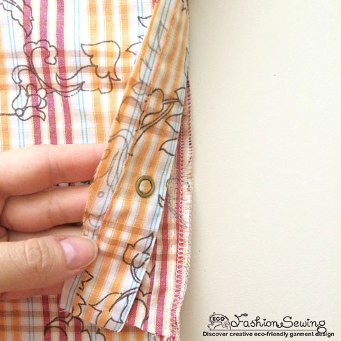 Yellow+Shirt+Refashion/Yellow-shirt-refashion--Redesign-gather-under-bust-and-short-sleeves---sew-frt-panel