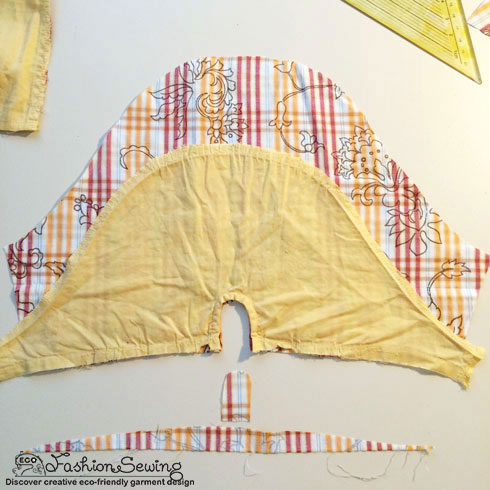 Yellow-shirt-refashion--Redesign-gather-under-bust-and-short-sleeves---sleeve-3