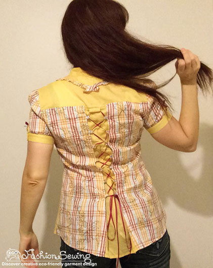Yellow-shirt-refashion--Redesign-gather-under-bust-and-short-sleeves-after-2