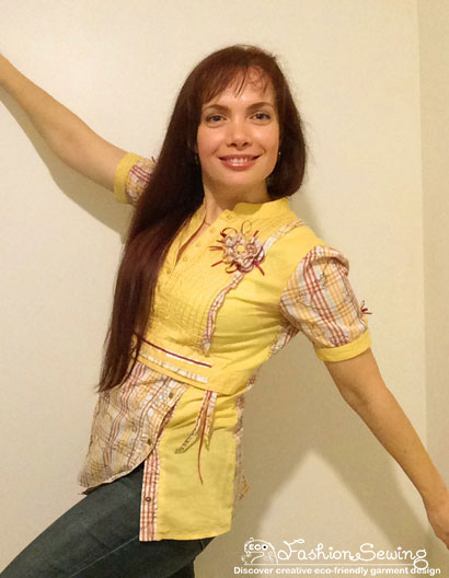 Yellow-shirt-refashion--Redesign-gather-under-bust-and-short-sleeves-after-3