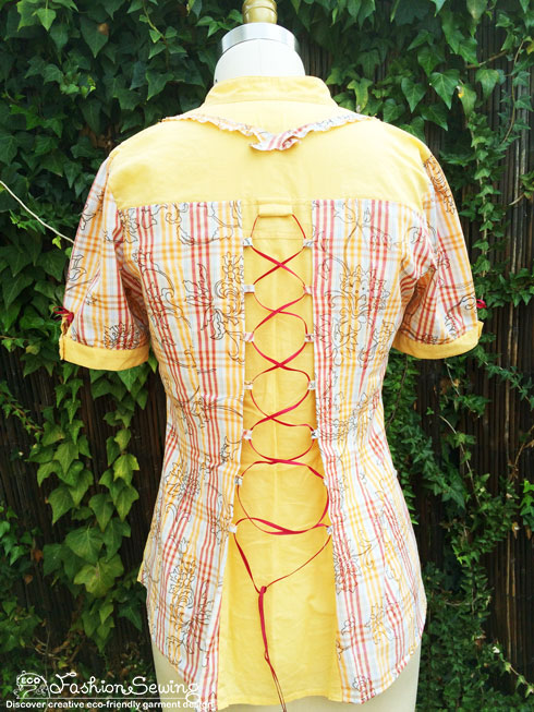Yellow-shirt-refashion--Redesign-gather-under-bust-and-short-sleeves-bk-after