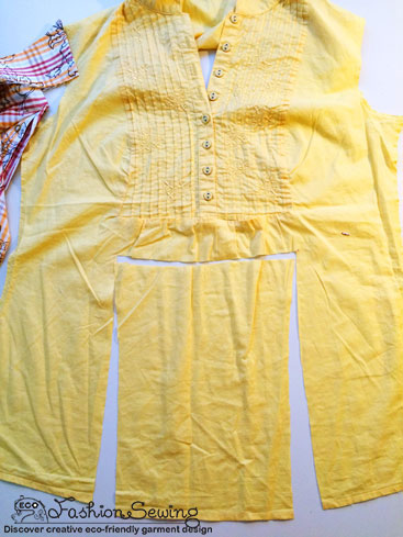 Yellow-shirt-refashion--Redesign-gather-under-bust-and-short-sleeves-cut-main