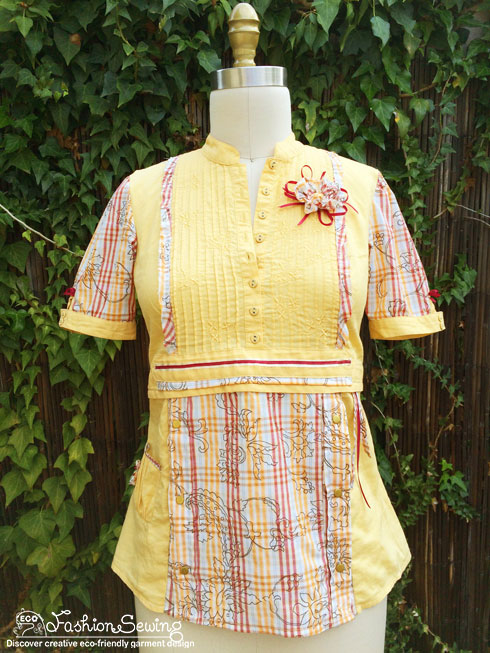 Yellow-shirt-refashion--Redesign-gather-under-bust-and-short-sleeves-front-after