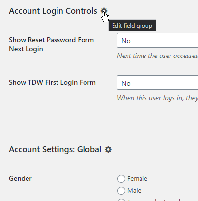 Screenshot of edit field group links in the field group title on the edit users screen