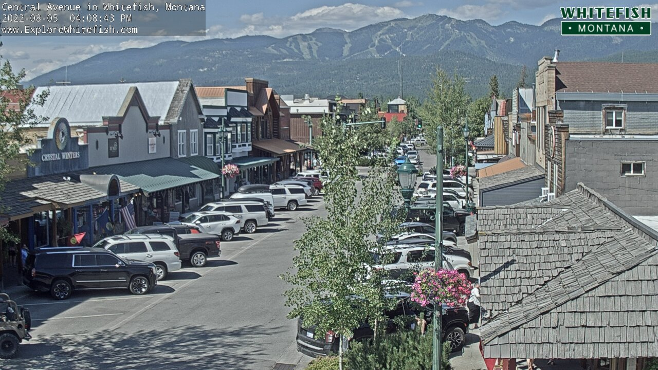 Whitefish Central Avenue Cam - located at 3rd St in Whitefish, MT. *This cam not maintained by WMR.