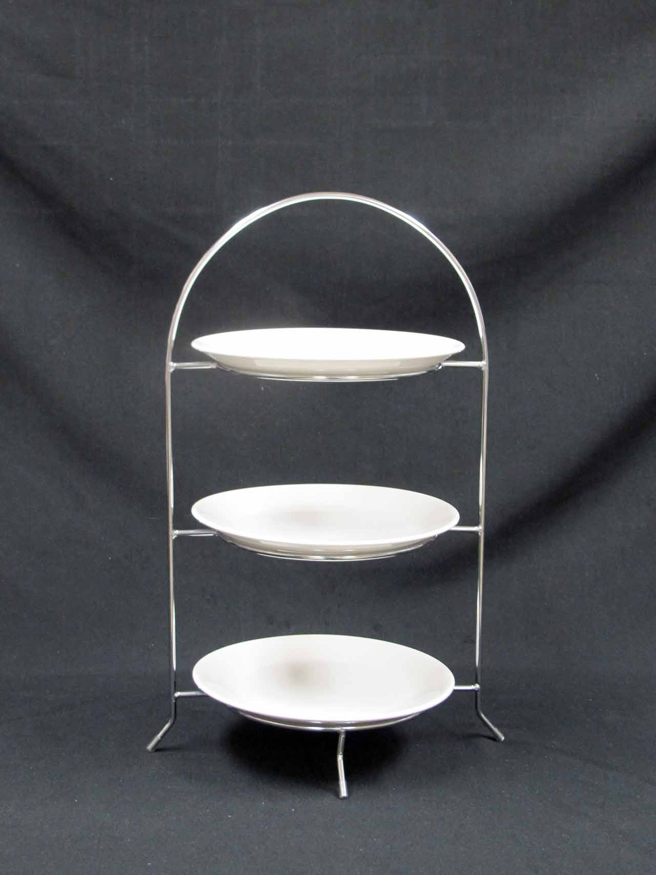 Three Tier Serving Tray Chrome Elite Events Rental