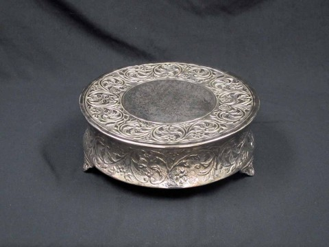 14 in Round Silver Cake Stand