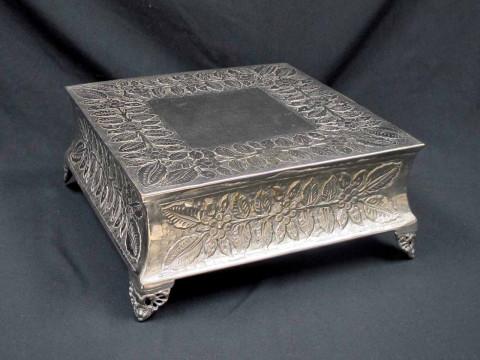 18 inch Square Silver Cake Stand