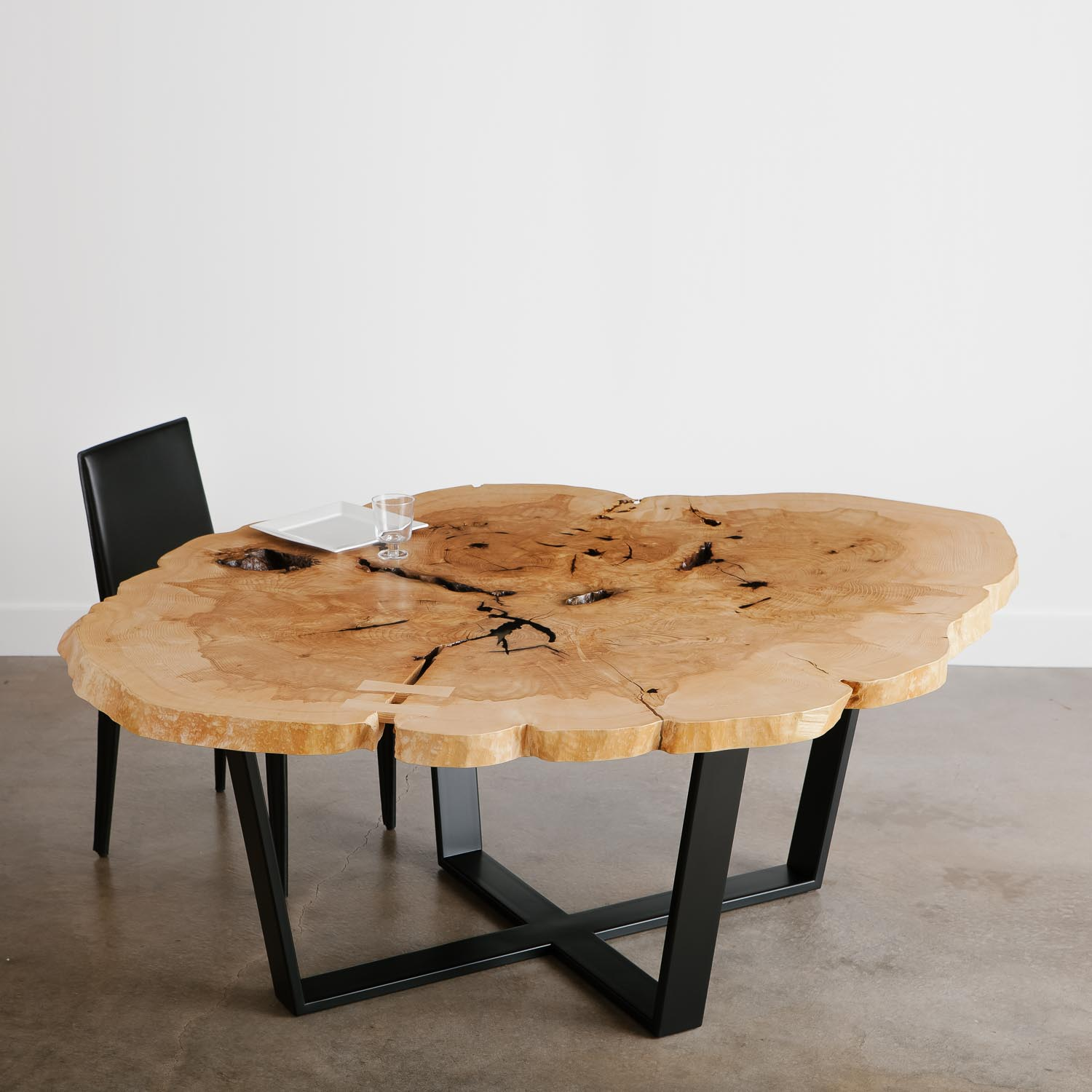 Modern round live edge ash dining table