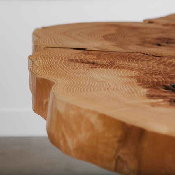 Ash live edge table with natural tree rings