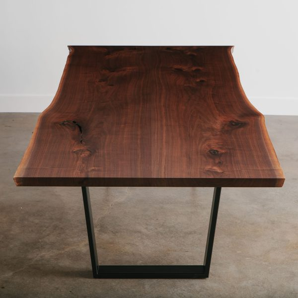 Bookmatched natural walnut dining table