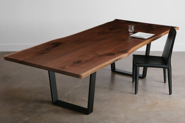 Custom modern live edge walnut table