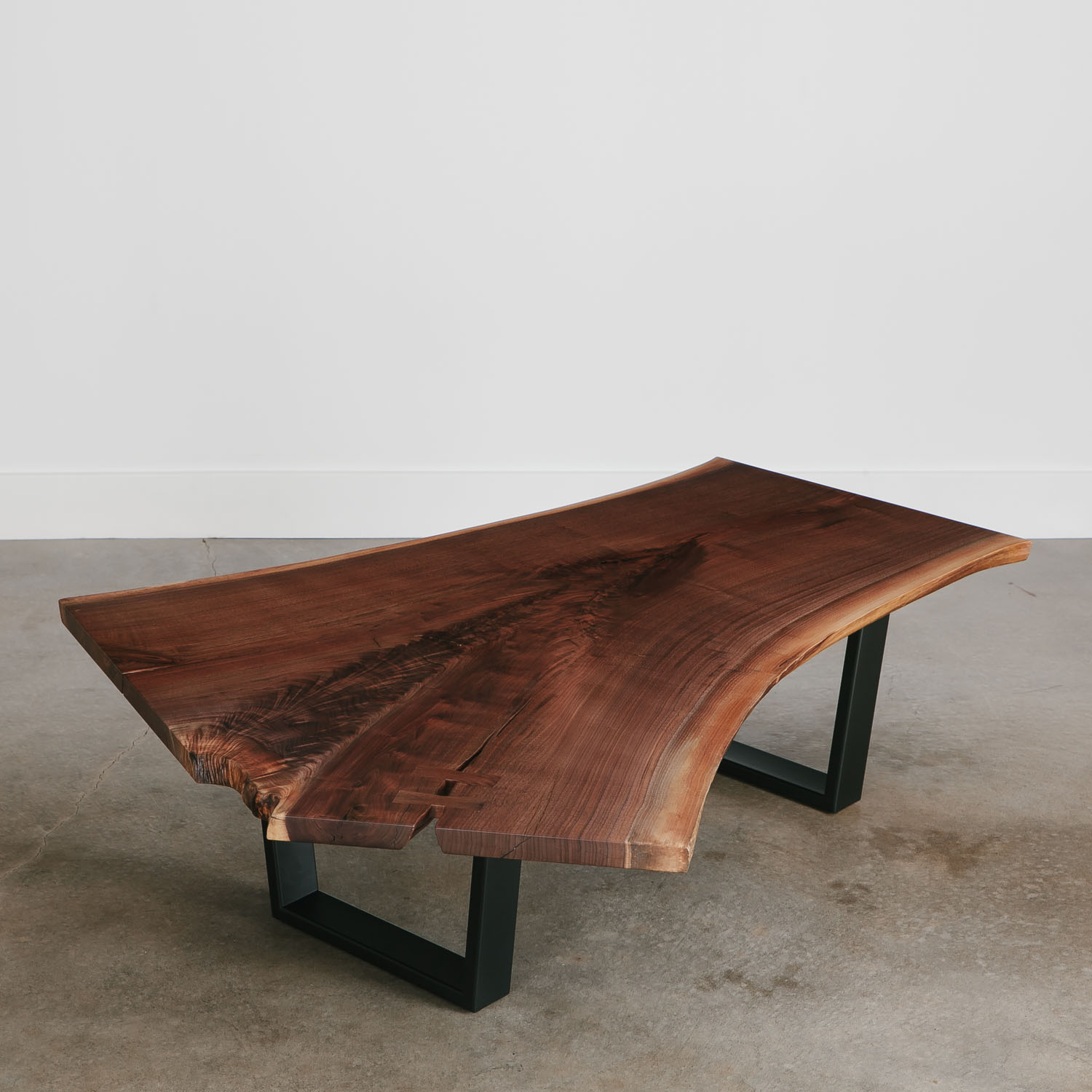 Natural walnut single slab live edge coffee table