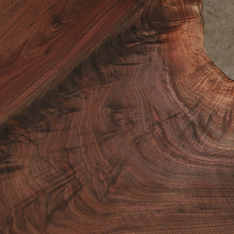 Figured walnut wood grain on natural coffee table