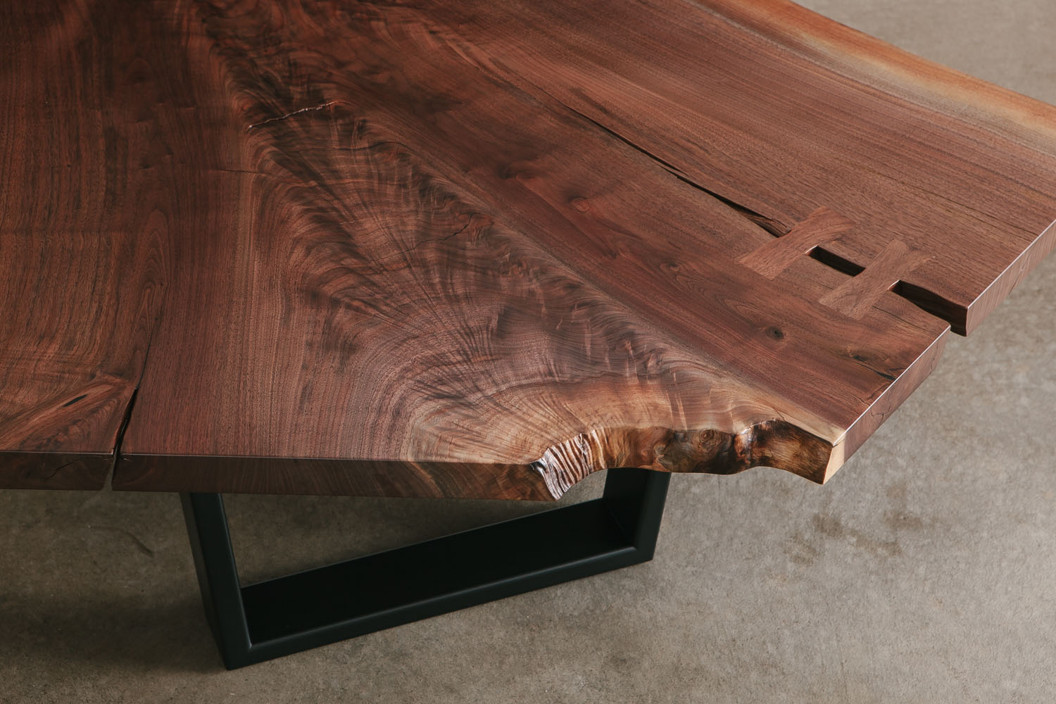 Luxury walnut crotch slab coffee table with natural tree characteristics