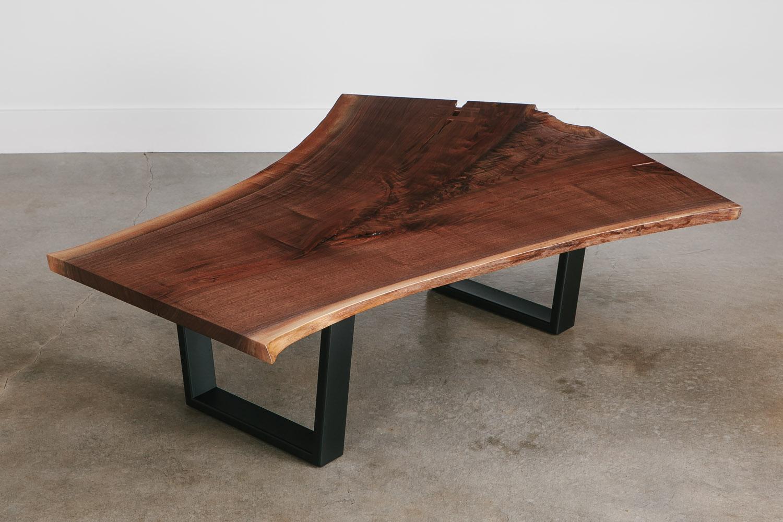 Modern walnut live edge coffee table
