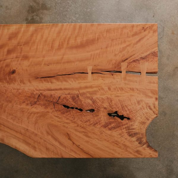 Live edge cherry slab with unique tree character