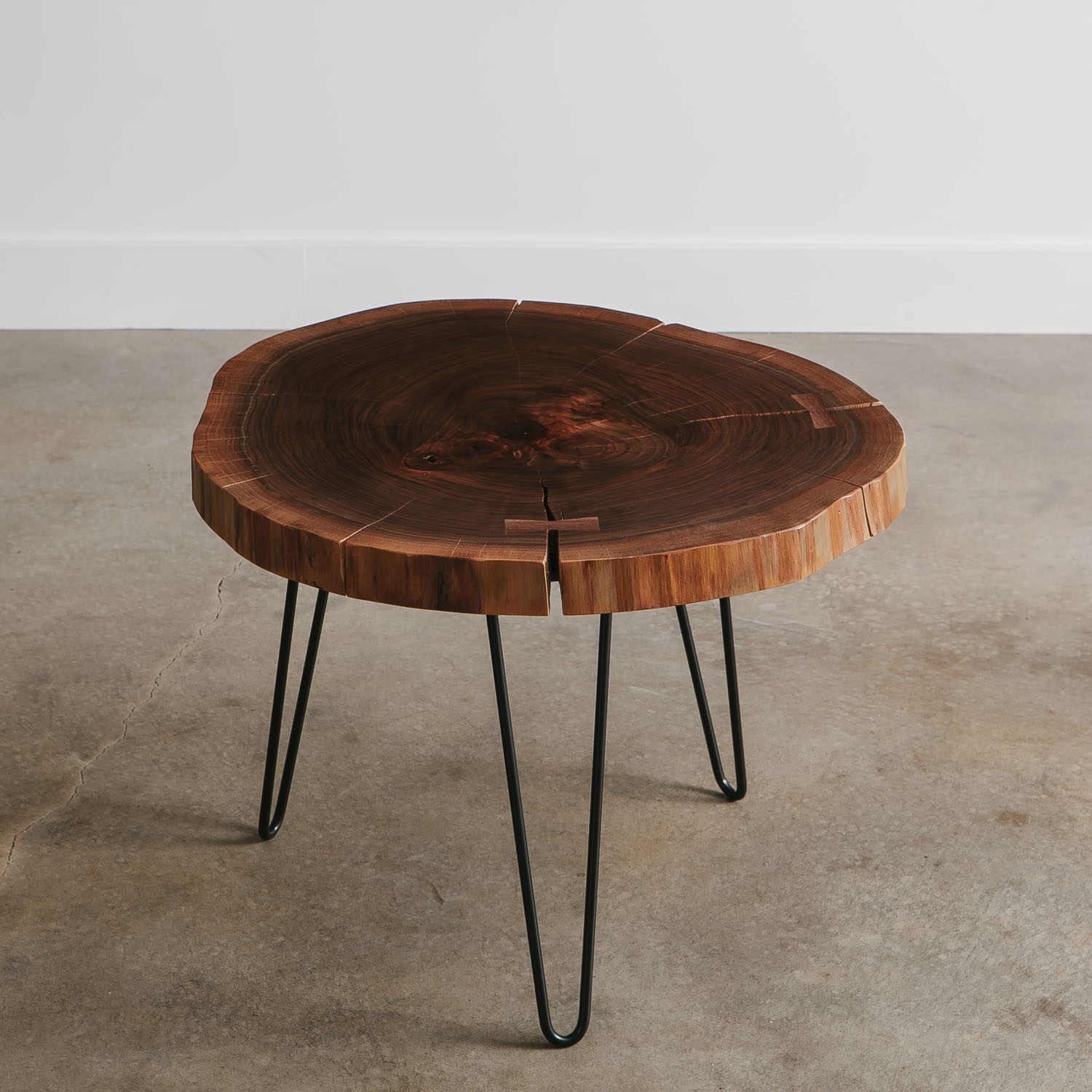 Classy walnut live edge round side table