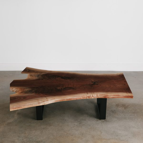 Modern live edge coffee table with black base