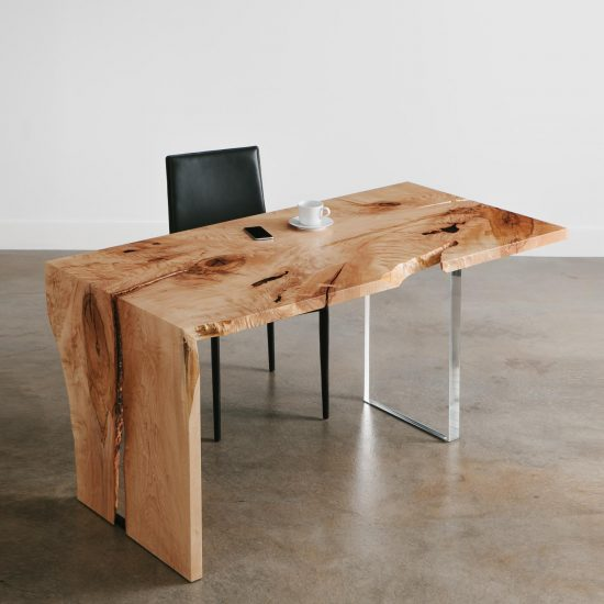 Trendy live edge waterfall maple desk