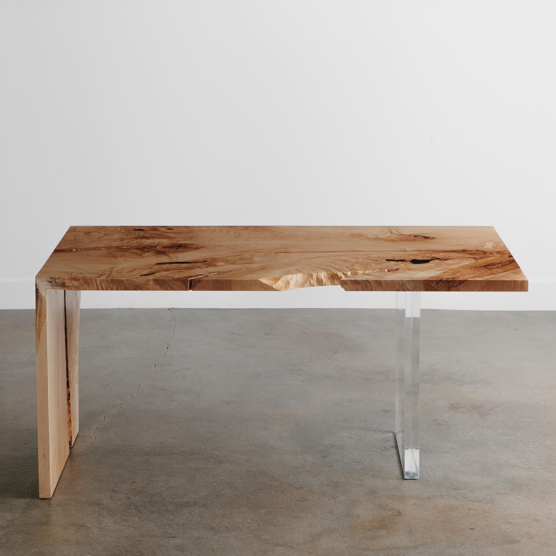 Trendy modern furniture live edge maple table