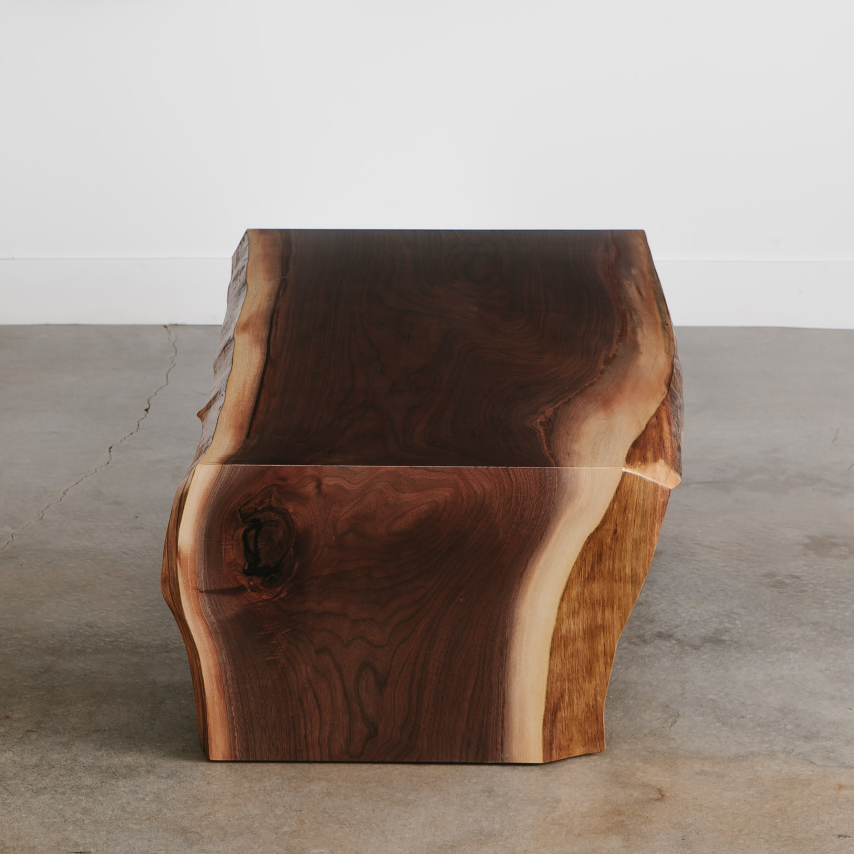 Handmade live edge slab coffee walnut table