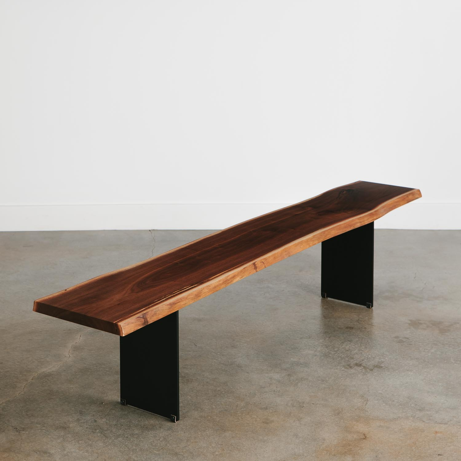 Modern live edge walnut bench long