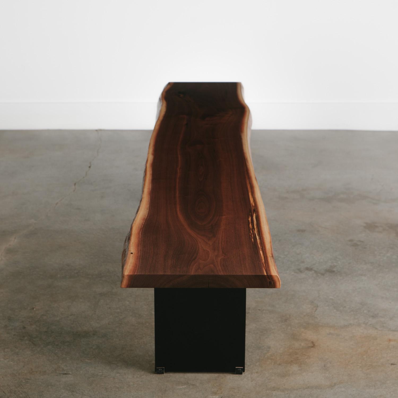 Modern handmade walnut bench