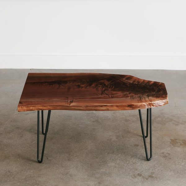 Live edge slab coffee table with black hairpin legs