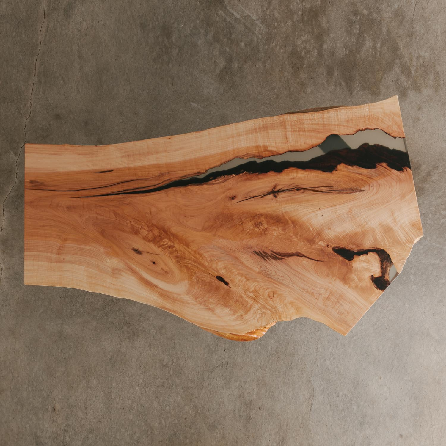 Live edge maple coffee table natural slab